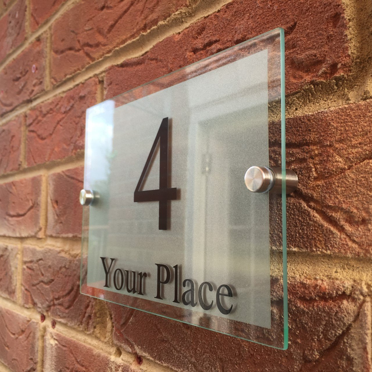 MODERN HOUSE SIGNS GLASS EFFECT ACRYLIC DOOR NUMBER/STREET MEDIUM Signs4home