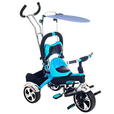 Tricycle Stroller Bike, 3-1 Stroller with Removable Canopy and Stroller Organizer by Lil' Rider, Ride on Toys for Boys and Girls, 1 - 5 Year Old, Blue: Toys & Games