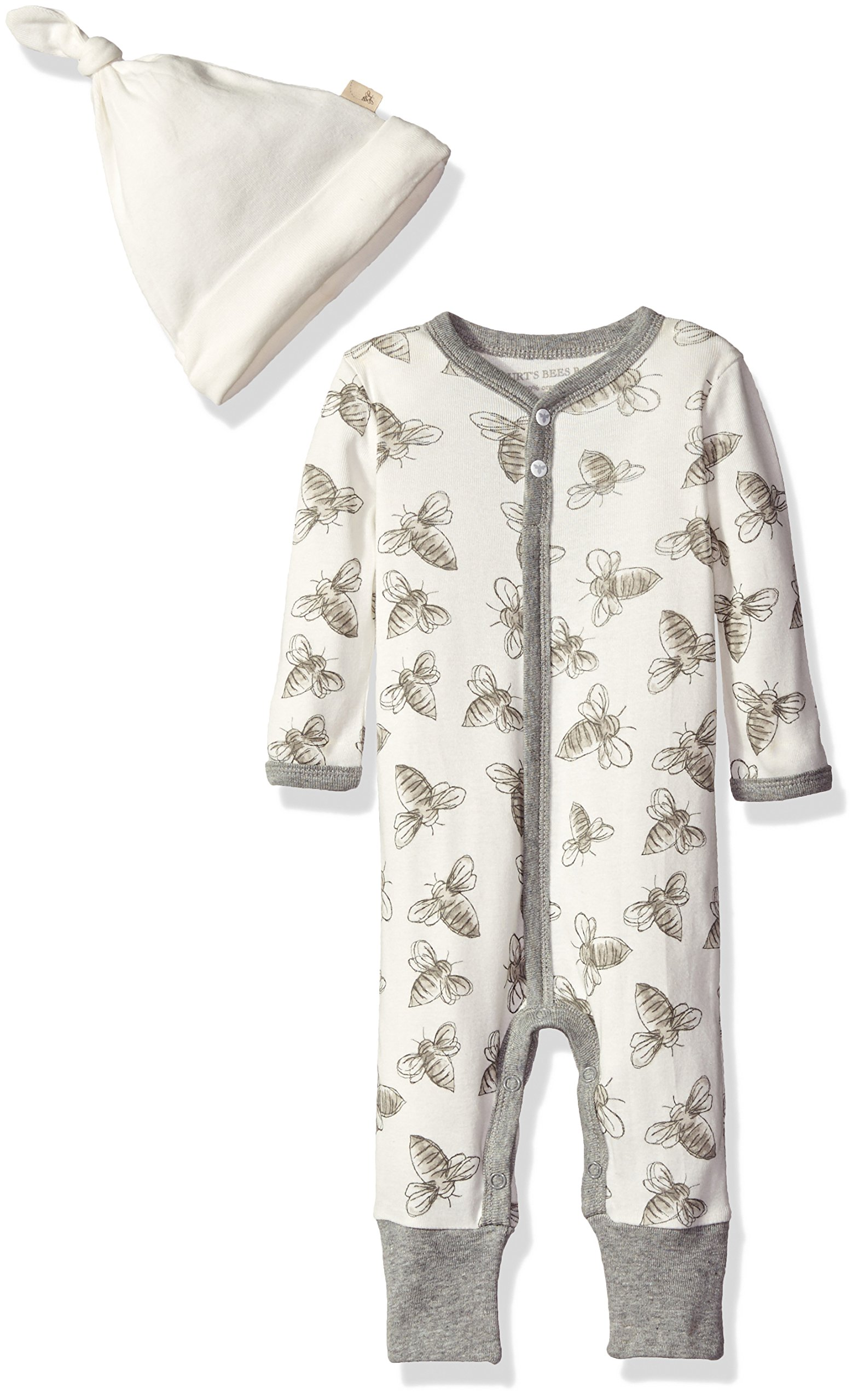 ea43b46748a Galleon - Burt's Bees Baby Baby Boys' Convertible Foot Organic Long Sleeve  Coverall, Heather Grey Bee, 0-3 Months