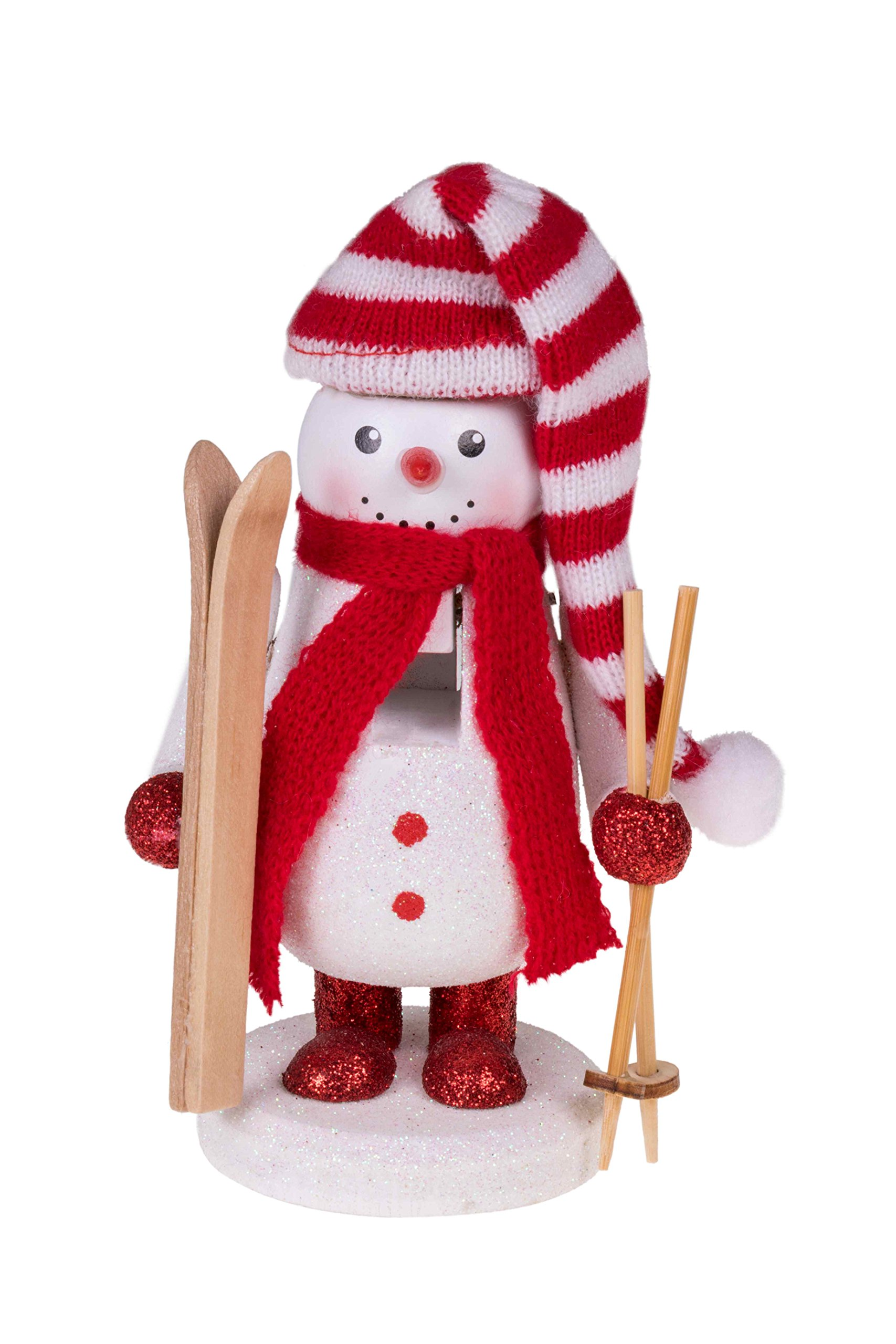 Traditional Wooden Skier Snowman Nutcracker with Skis by Clever Creations | Festive Christmas Decor | 6'' Tall with Red and White Scarf| Perfect for Shelves and Tables | 100% Wood by Clever Creations