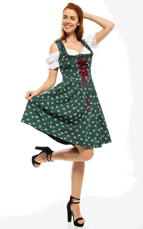 Lifos 0262 Oktoberfest Bavarian Dirndl Dress 3 Pieces Included Apron and White Blouse
