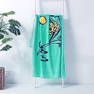 Berkshire Blanket & Life is Good Oversize Cotton Outdoor Beach Towel, Dogs & Palms, 65'' x 38''