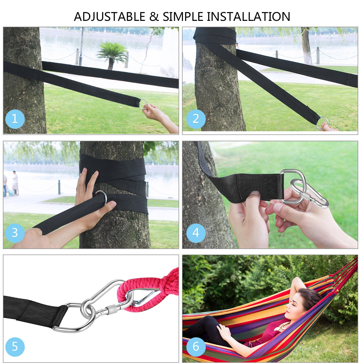 iqnbxw Tree Hanging Straps, Swing Straps with 2 Heavy Duty Safety Lock Carabiner Hooks & D-Rings, Polyester Straps Perfect for Hammock Hanging Kit Straps, ...