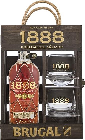 Brugal 1888 Ron Premium 40% + Estuche madera 2 Vasos - 700 ml: Amazon.es: Alimentación y bebidas