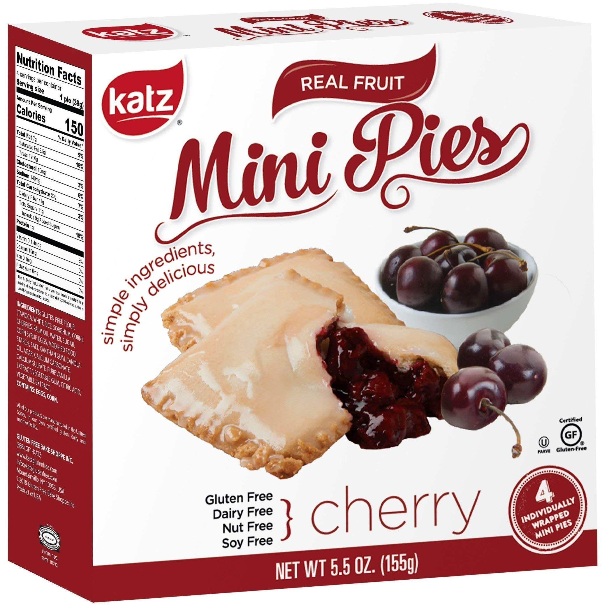 Katz Gluten Free Cherry Mini Pies | Dairy, Nut, Soy and Gluten Free | Kosher (6 Packs of 4 Mini Pies, 5.5 Ounce Each) by Katz Gluten Free