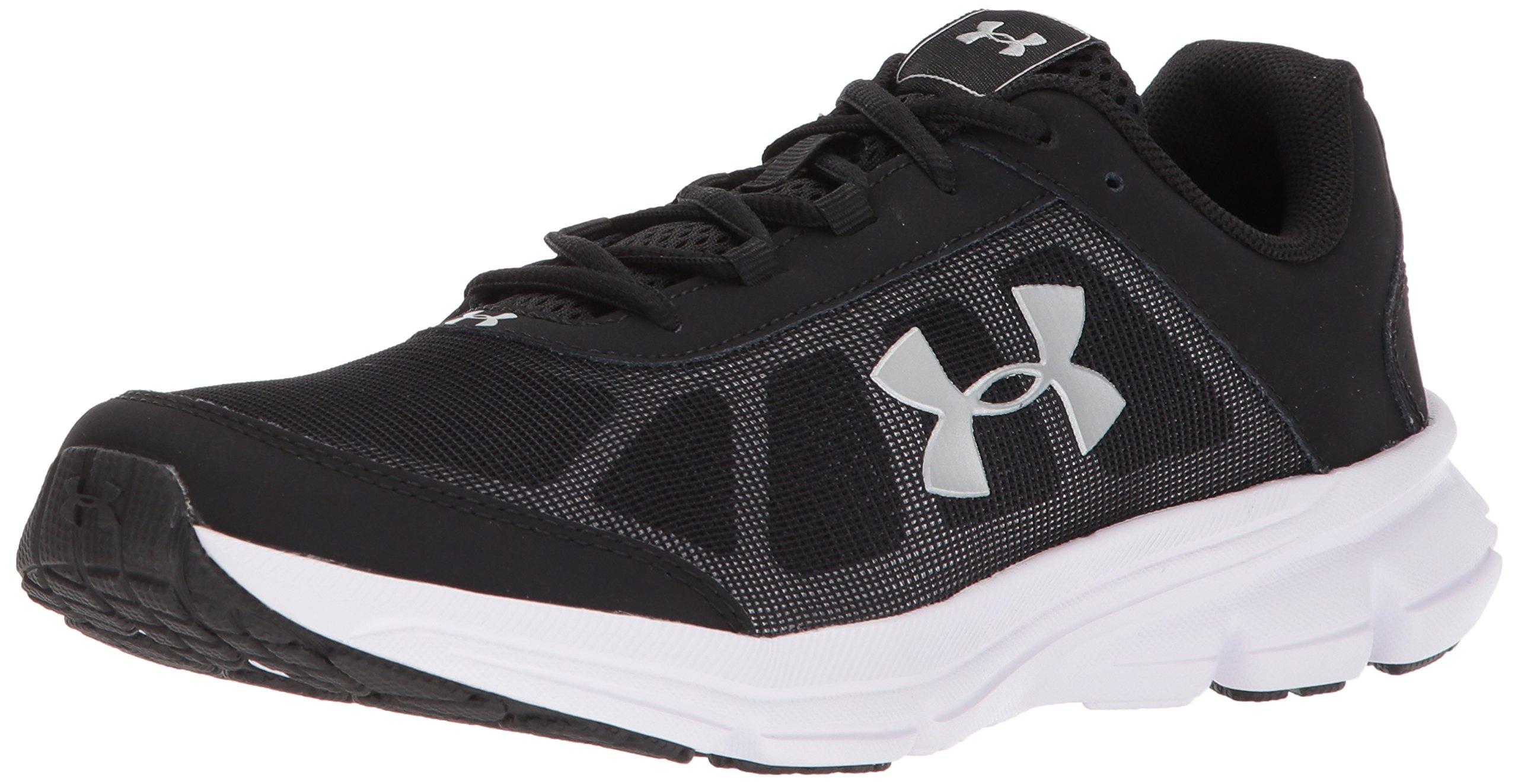 Under Armour Girls' Grade School Rave 2 Sneaker Black (001)/White 4