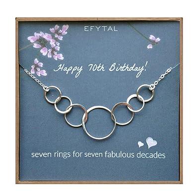 EFYTAL 70 regalos de cumpleaños collar de plata de siete ...