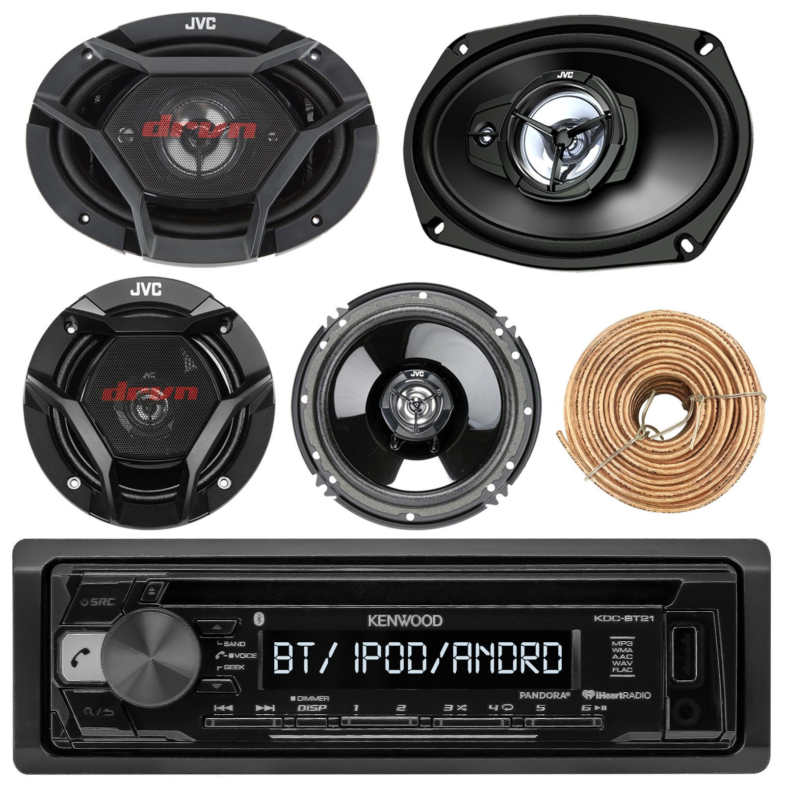 Kenwood KDCBT21 Car CD Player Receiver Bluetooth USB AUX Radio - Bundle Combo With 2x JVC 6x9'' 3-Way Vehicle Coaxial Speakers + 2x 6.5'' Inch 2-Way Audio Speakers + Enrock 50 Ft 18G Speaker Wire