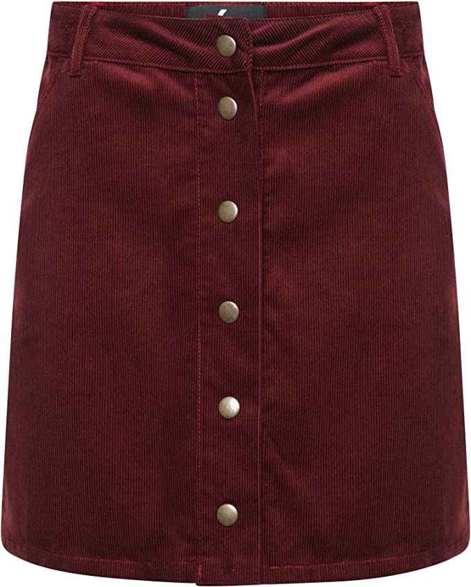 TTC - Mini Falda de Pana para Mujer, Color borgoña Negro Negro (38 ...