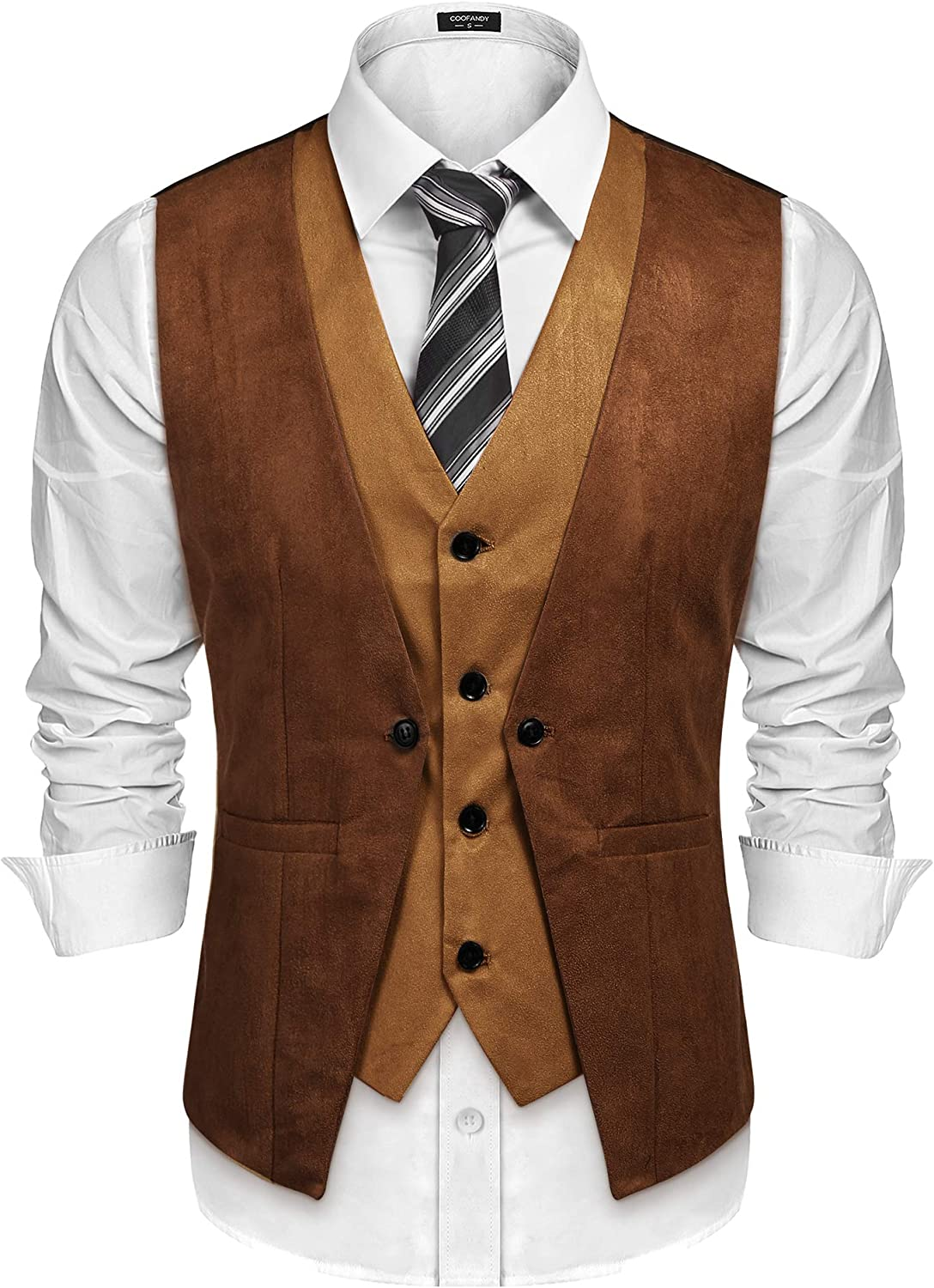 COOFANDY Men's Suede Leather Vest Layered Style Dress Vest Waistcoat