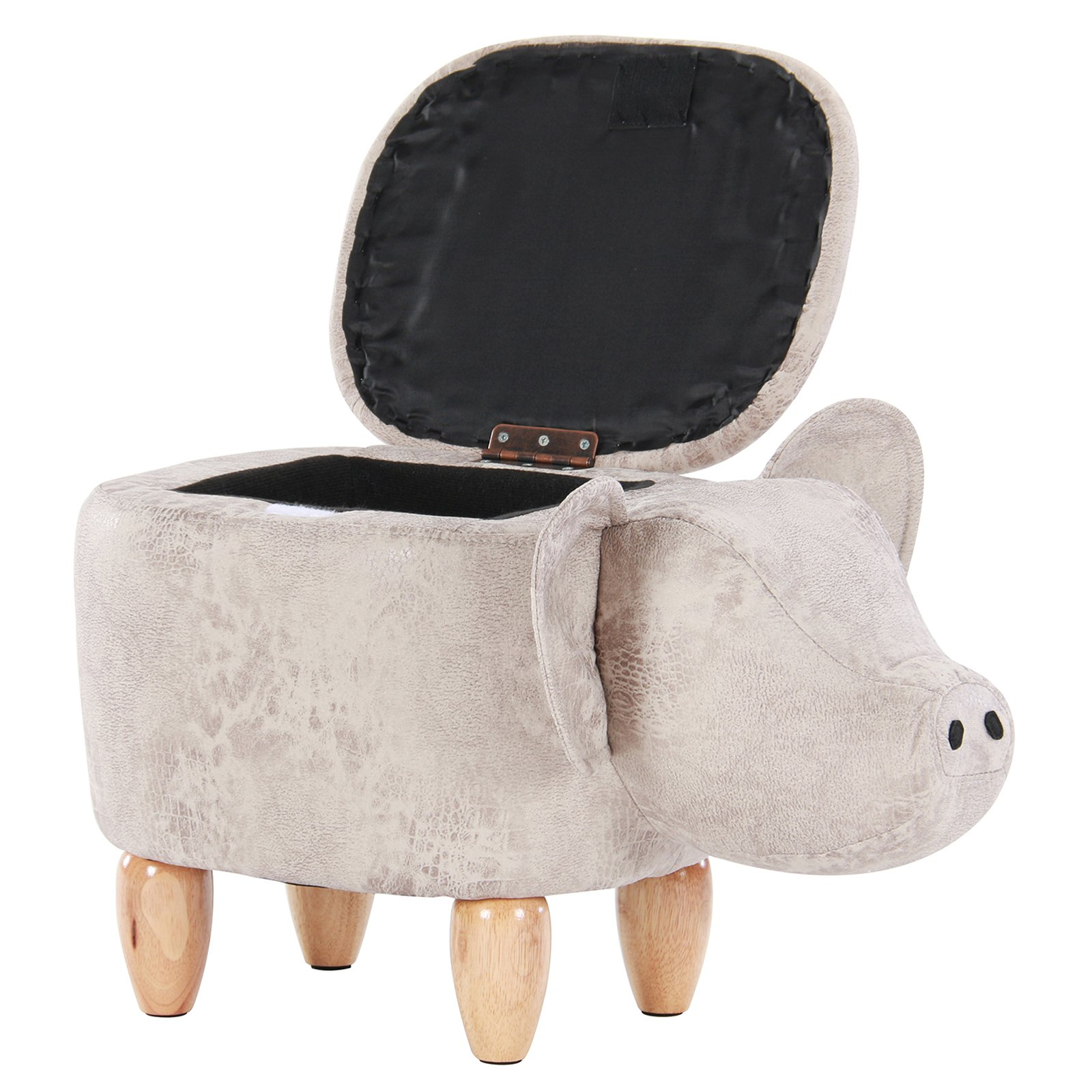 Artechworks Pig Shaped Animal Storage Ottoman Footrest Stool, Gray