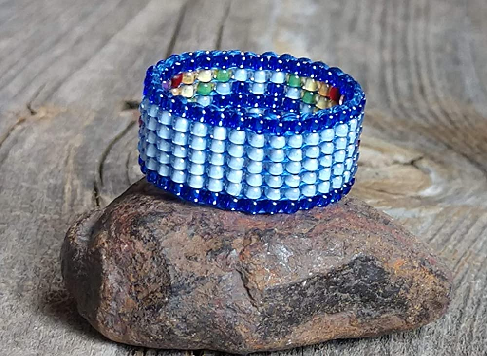 Autism Awareness Royal Pale Blue Colorful Rainbow Puzzle Piece Beaded Band Ring Hypoallergenic Aspergers ASD Custom Colors