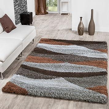 Shaggy Hochflor Teppich Wohnzimmer Welle In Beige Braun Creme Kupfer ...