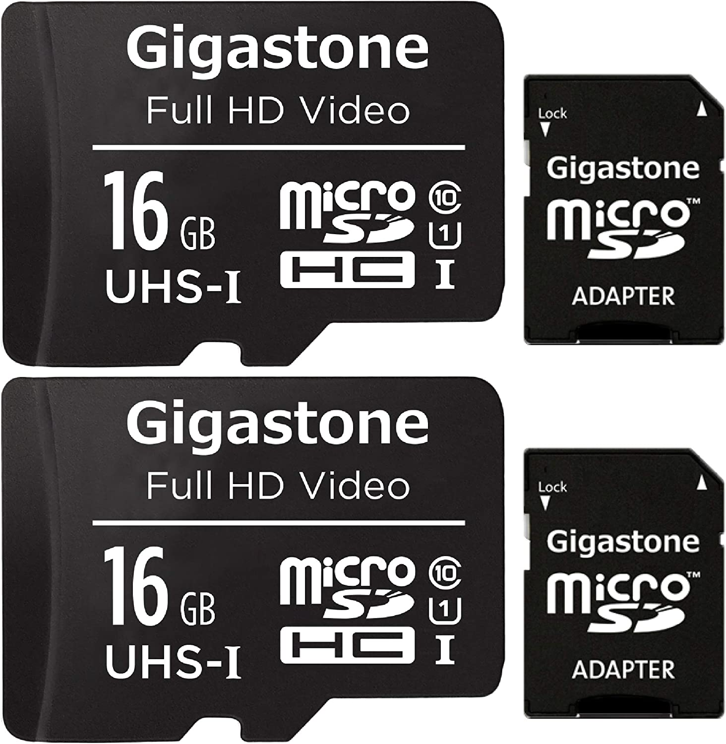 Gigastone 16GB 2-Pack Full HD Video Micro SD Card, SDHC UHS-I U1 C10 Class 10 Wyze Camera Compatible, 90MB/s