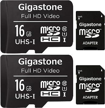 Gigastone Tarjeta de memòria Micro SDXC de 16GB con Adaptador SD, (Classe 10, U1,C10, 2 paquets). Velocidad de Lectura/Escritura hasta 90/20 MB/s.Compatible con Mòbil, cámara de Coche etc.: Amazon.es: Electrónica