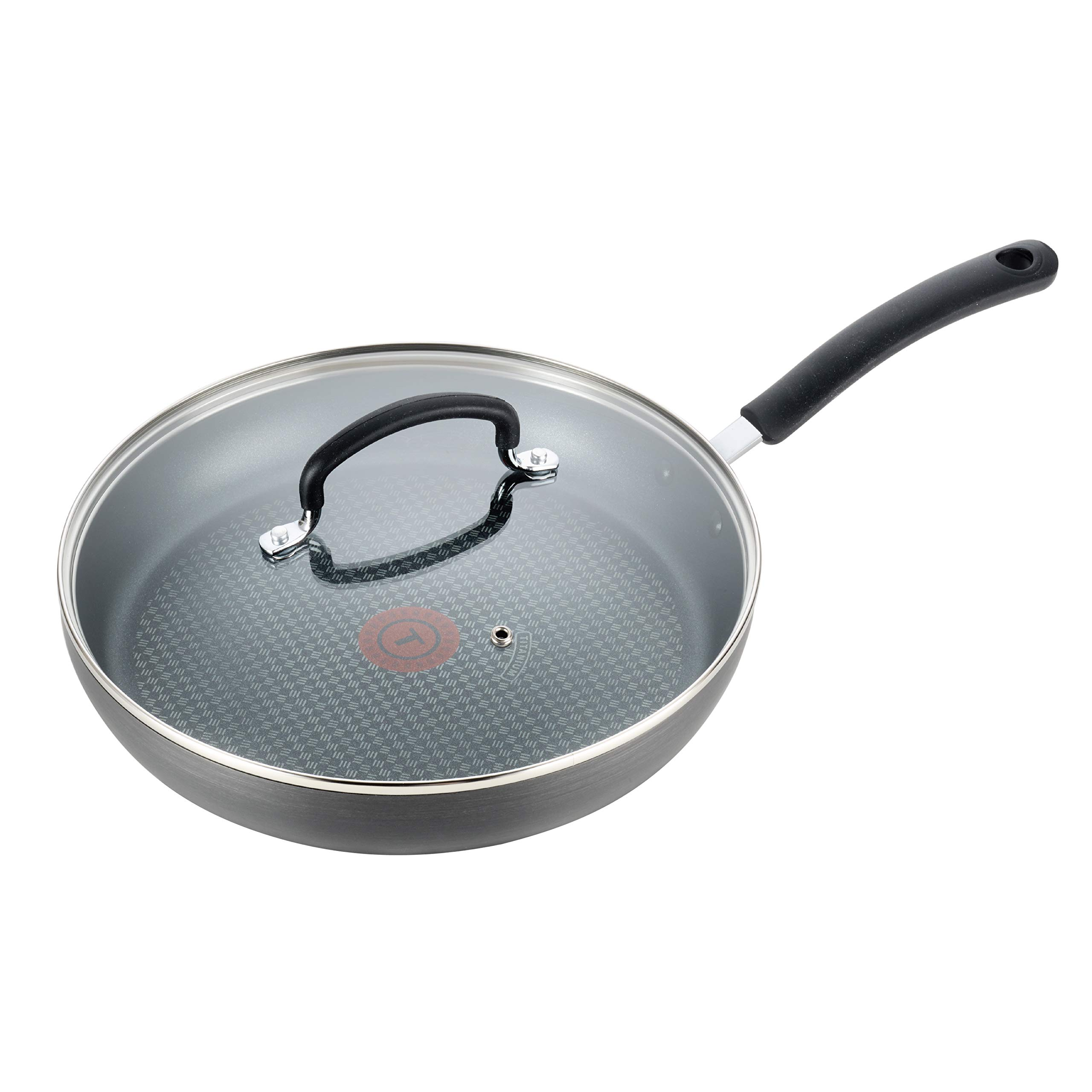 T-fal E76507 Ultimate Hard Anodized Nonstick 12 Inch Fry Pan with Lid, Dishwasher Safe Frying Pan, Black by T-fal