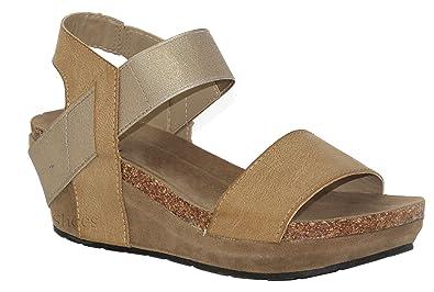 fcee6c3c0675 MVE Shoes Women s Open Toe Strappy Wedge - Summer Vegan Leather Platform  Sandal - Low Heeled