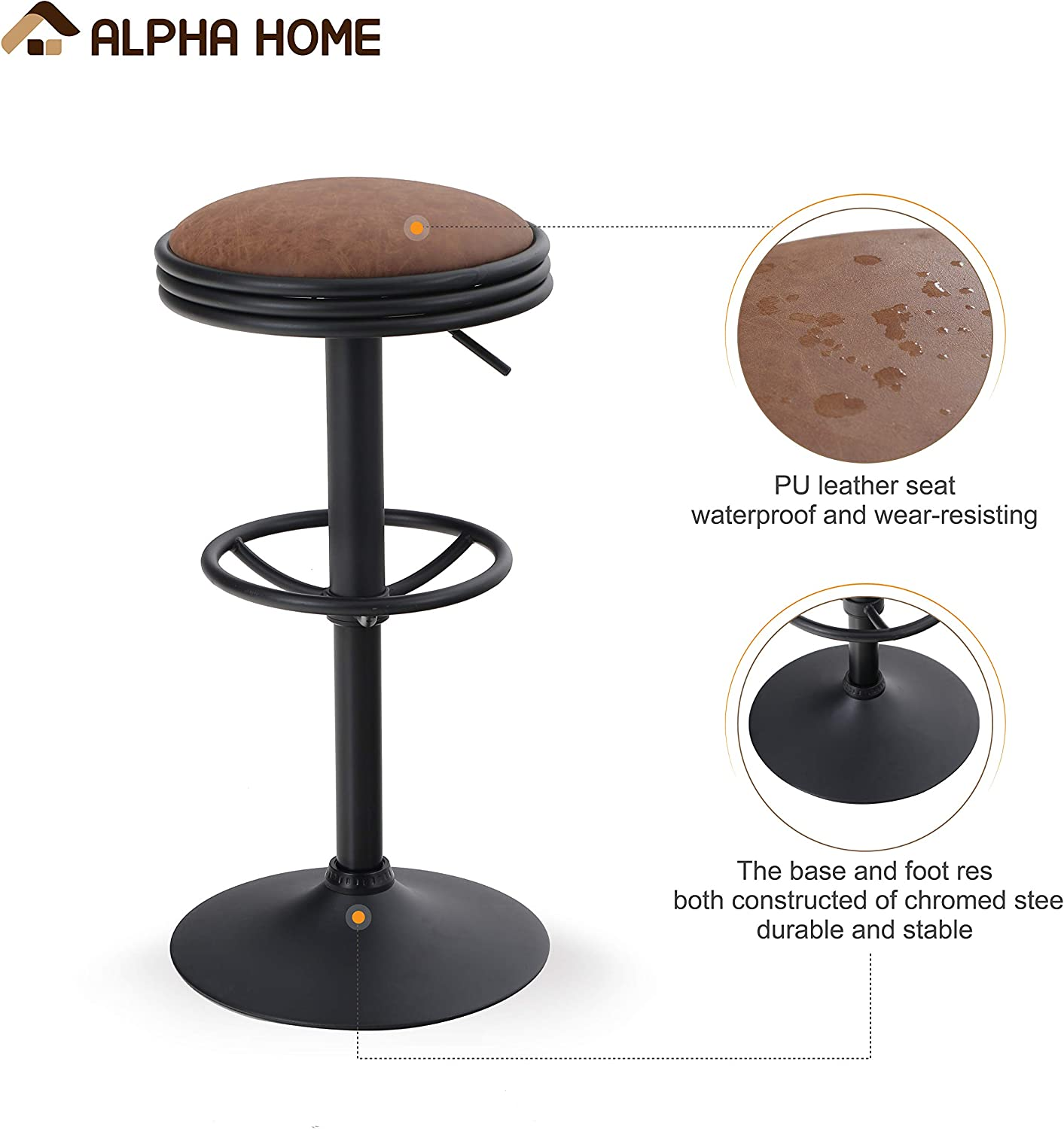 ALPHA HOME Swivel Bar Stool Counter Height Round PU Leather Adjustable Chair Office Stool Pub Stool with Chrome Footrest Khaki, 2 pc