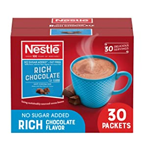 Nestle Hot Chocolate Packets, Hot Cocoa Mix, No Sugar Added and Fat Free, 30 Count (0.28 oz Each)