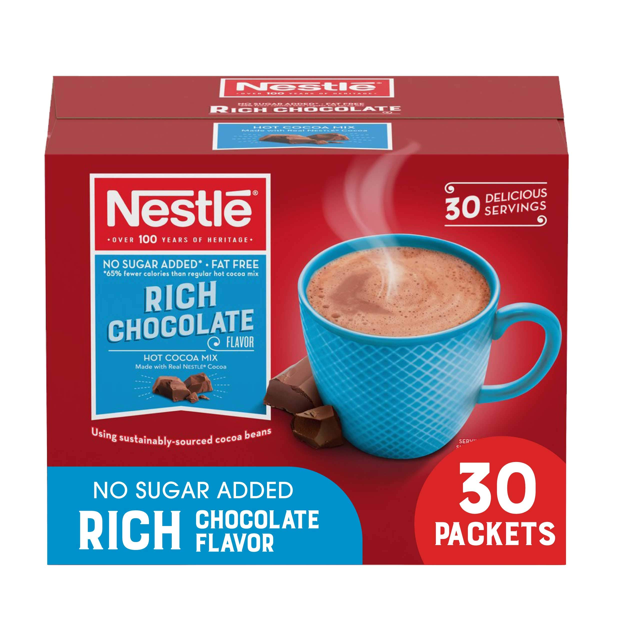 Nestle Hot Chocolate Packets, Hot Cocoa Mix, No Sugar Added and Fat Free, 30 Count (0.28 ounce Each)