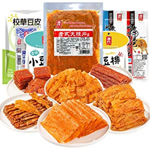 Genji food Latiao Spicy Strip 12 Bags Net Weight 373g/13.15oz Spicy Bean and Flour Product Combination Gift Pack Chinese Special Snack Food 源氏12袋辣条净重373g/13.15oz豆制品面制品组合大礼包休闲零食