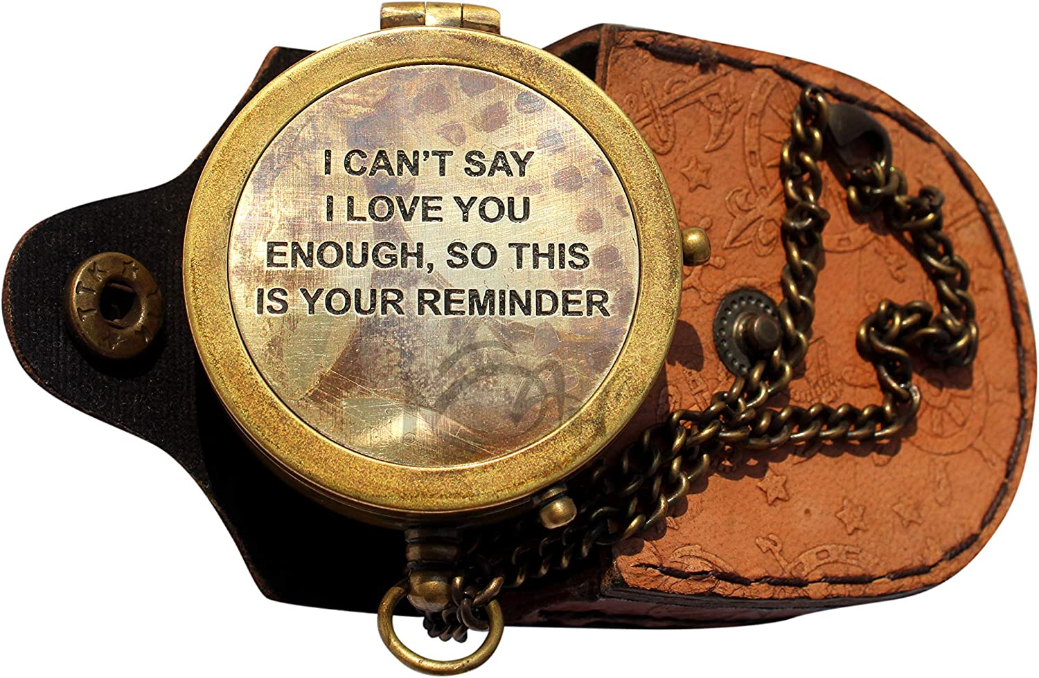 """MAH """" I Can't say I Love You Enough """", Camping Compass Engraved with Gift Compass. C-3138"""