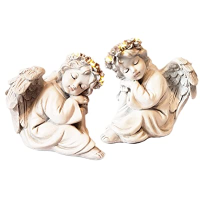 Eternal Light Angel Statue Solar Light (Set of 2) - with 2 Angel Figurines and Statue with LED Light Angel Halo - Used for Christmas or Garden Decor, as Well as Sympathy Gifts (White, 6) : Garden & Outdoor