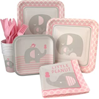 Pink Elephant Girl Baby Shower Supply Pack! Bundle Includes Paper Plates,  Napkins, Cups
