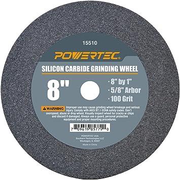 "8/"" x 1/"" POWERTEC 15510 5//8/"" Arbor 100-Grit Silicon Carbide Grinding Wheel"