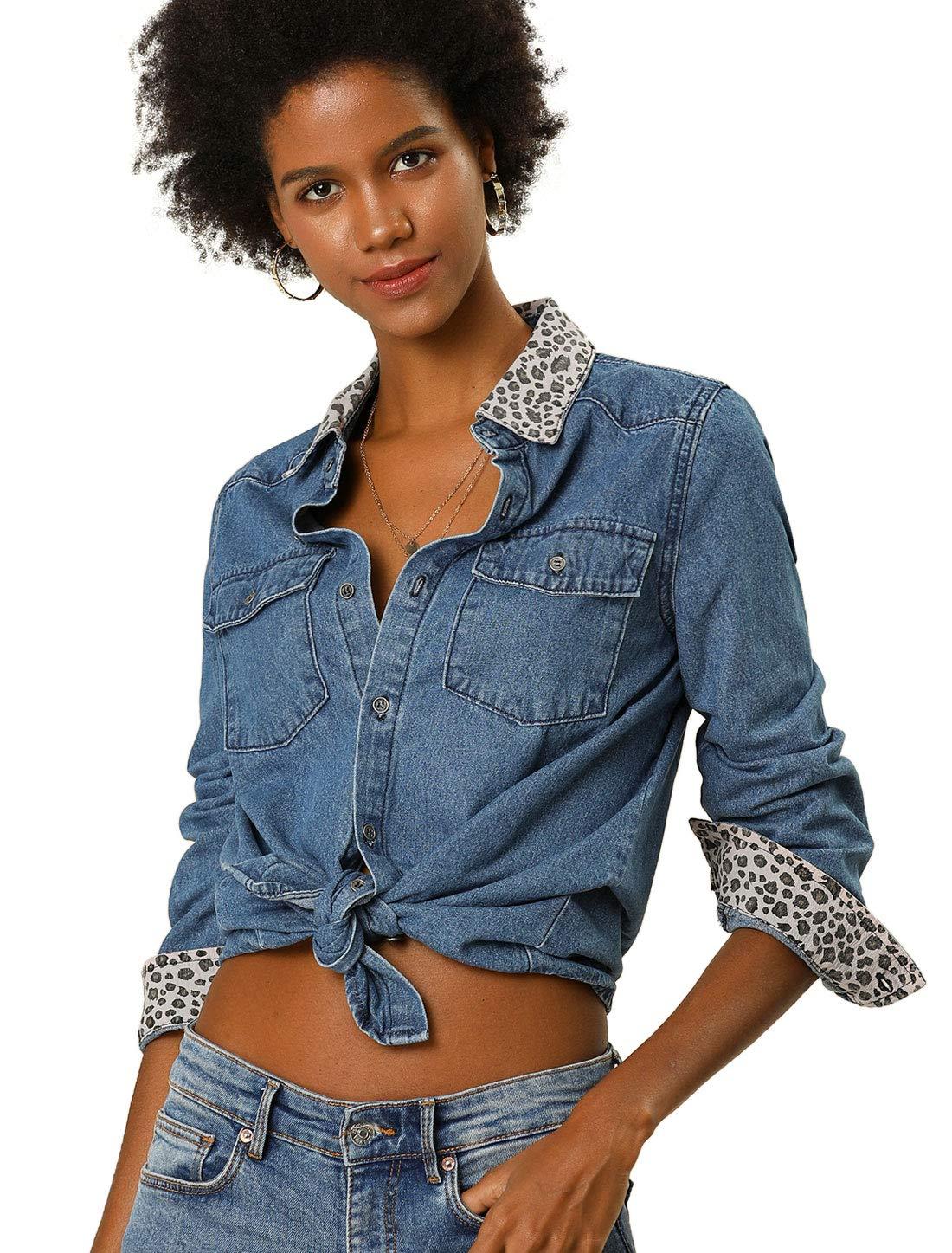 Women's Leopard Print Button Up Long Sleeves Jean Denim Shirt 3