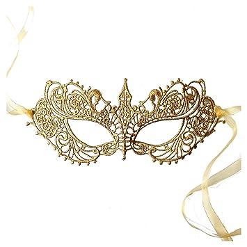 qualità stabile cerca il meglio dettagli per Samantha Peach Oro Maschera di Carnevale Pizzo Veneziana Ballo in Maschera  da Donna - Dea