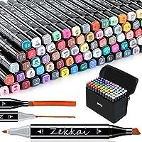 Zekkai Graffiti-pennor, set med 80 färgade markörpennor, färger tvillingpenna, markörpennor för studenter, manga…
