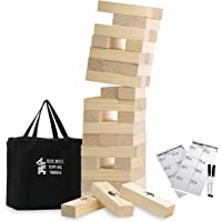 Large Tumbling Timbers Life Size Tumble Tower Wooden Stacking Games Yard Outdoor Games for Adults and Family Lawn Games - Includes Rules and Carrying Bag-54 Pcs Premium Wood