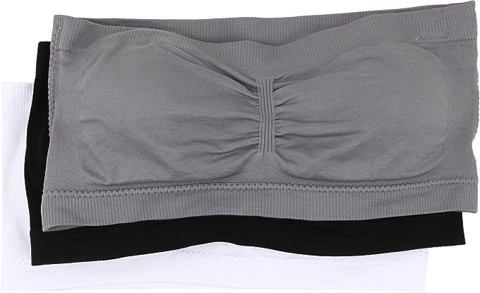 7672c4bc3a6de Coobie Women s Bandeau 3-Pack Neutrals Medium Grey Black White One Size at Amazon  Women s Clothing store