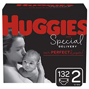 Huggies Special Delivery Hypoallergenic Diapers, Size 2 (12-18 lb.), 132 Count, One Month Supply