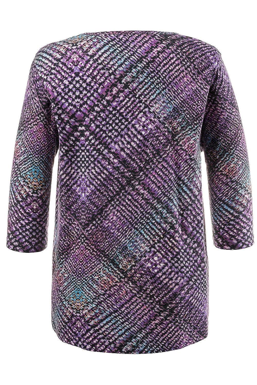 8cd785f9d36 Ulla Popken Women s Plus Size Plaid Print Purple Tee 705437 at Amazon  Women s Clothing store