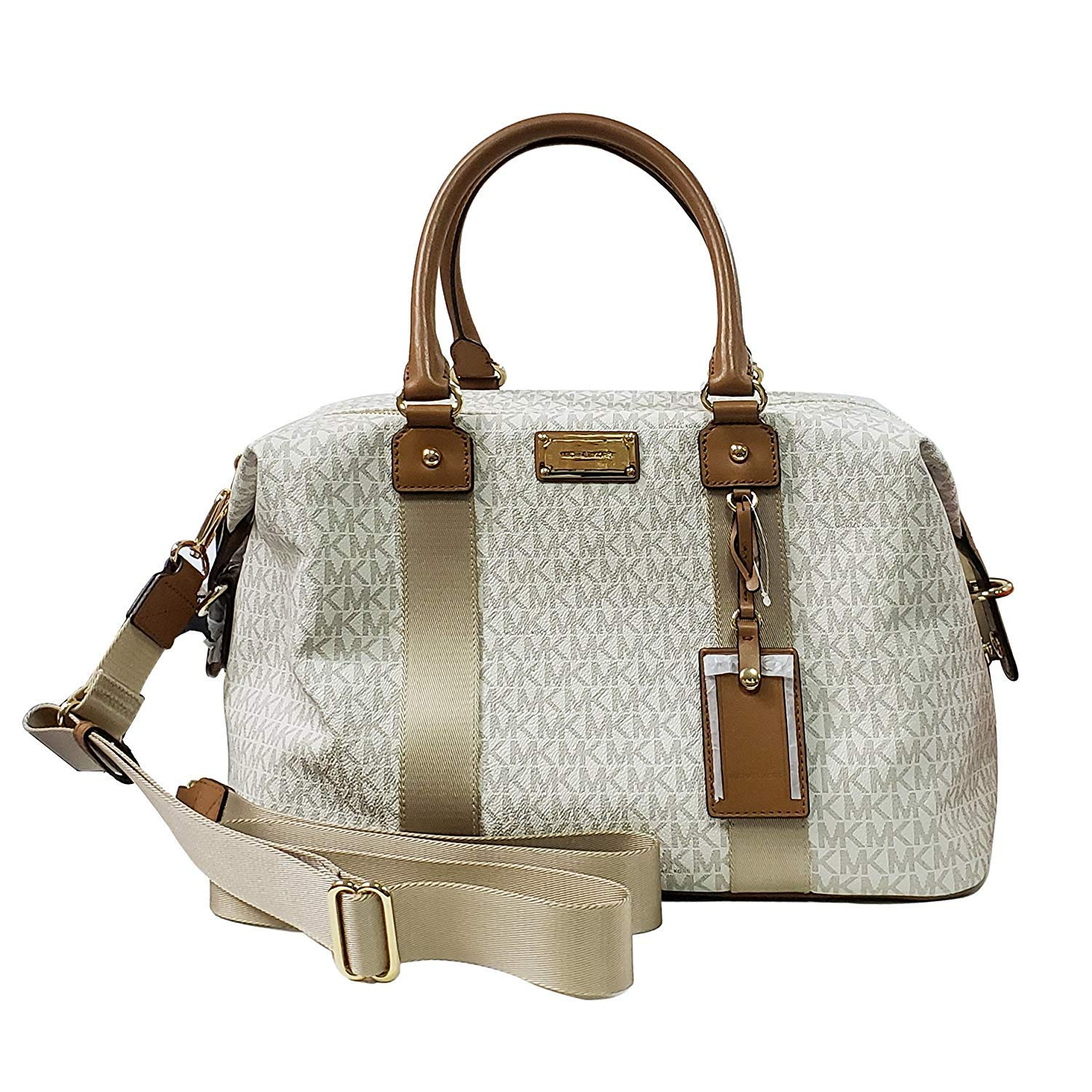 be8c2d8ee88a Amazon.com: Michael Kors LG large travel bag weekender purse MK vanilla  acorn brown: Clothing