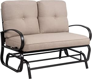 JY QAQA Loveseat Outdoor Patio Glider Rocking Bench, Porch Furniture Glider, Wrought Iron Chair Set with Cushion (Beige)