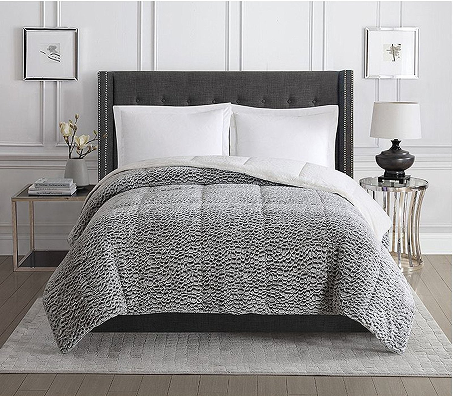 Christian Siriano Faux Fur Comforter (King, Black and White)