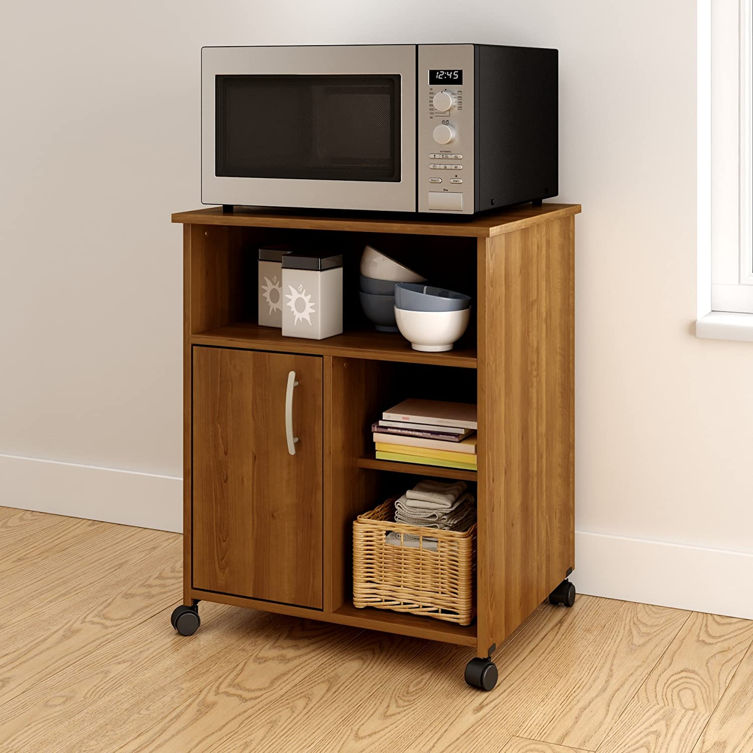 South Shore Axess Microwave Cart with Storage on Wheels, Morgan Cherry