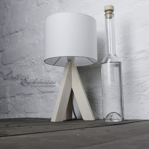Moderna lámpara de sobremesa pie de madera 31cm Ø17cm tulipa de tela lámpara blanca salón dormitorio mesita de noche: Amazon.es: Iluminación
