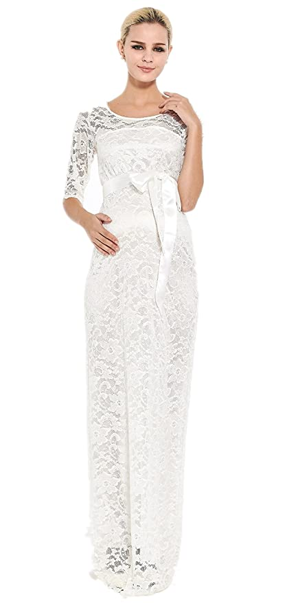 M2b Maternity Evening Dress Lace Ivory Off White Maxi Baby Shower
