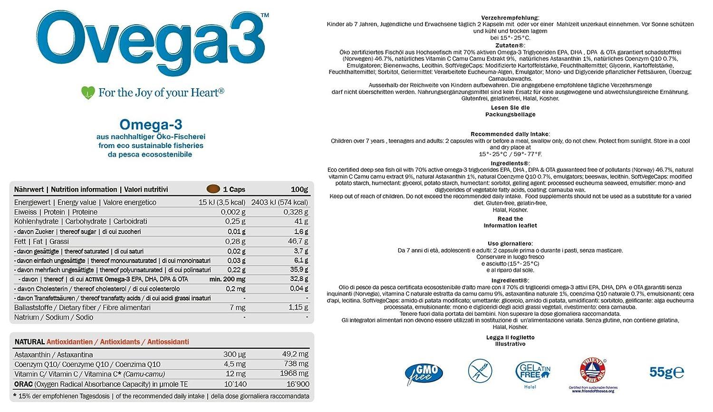 Ovega3 90 | Omega 3 cápsulas | con 3 antioxidantes naturales astaxantina, Q10, vitamina C | cápsulas pequeñas | sin gelatina | sin sustancias nocivas | EPA ...
