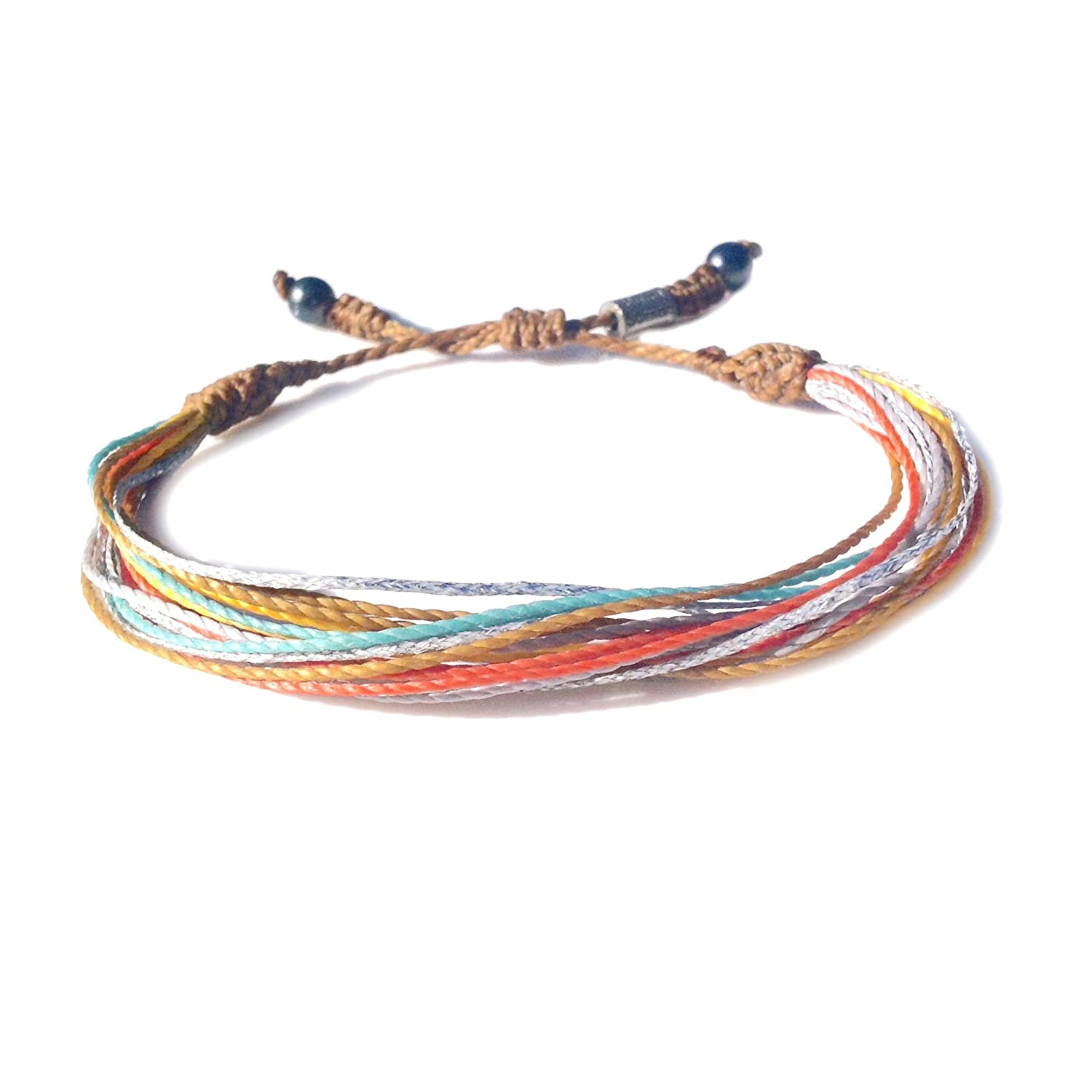 RUMI SUMAQ Colorful Spring String Bracelet with Hematite Stones Easter Basket Gift Handmade Knotted Macrame Pull Cord Friendship Bracelet