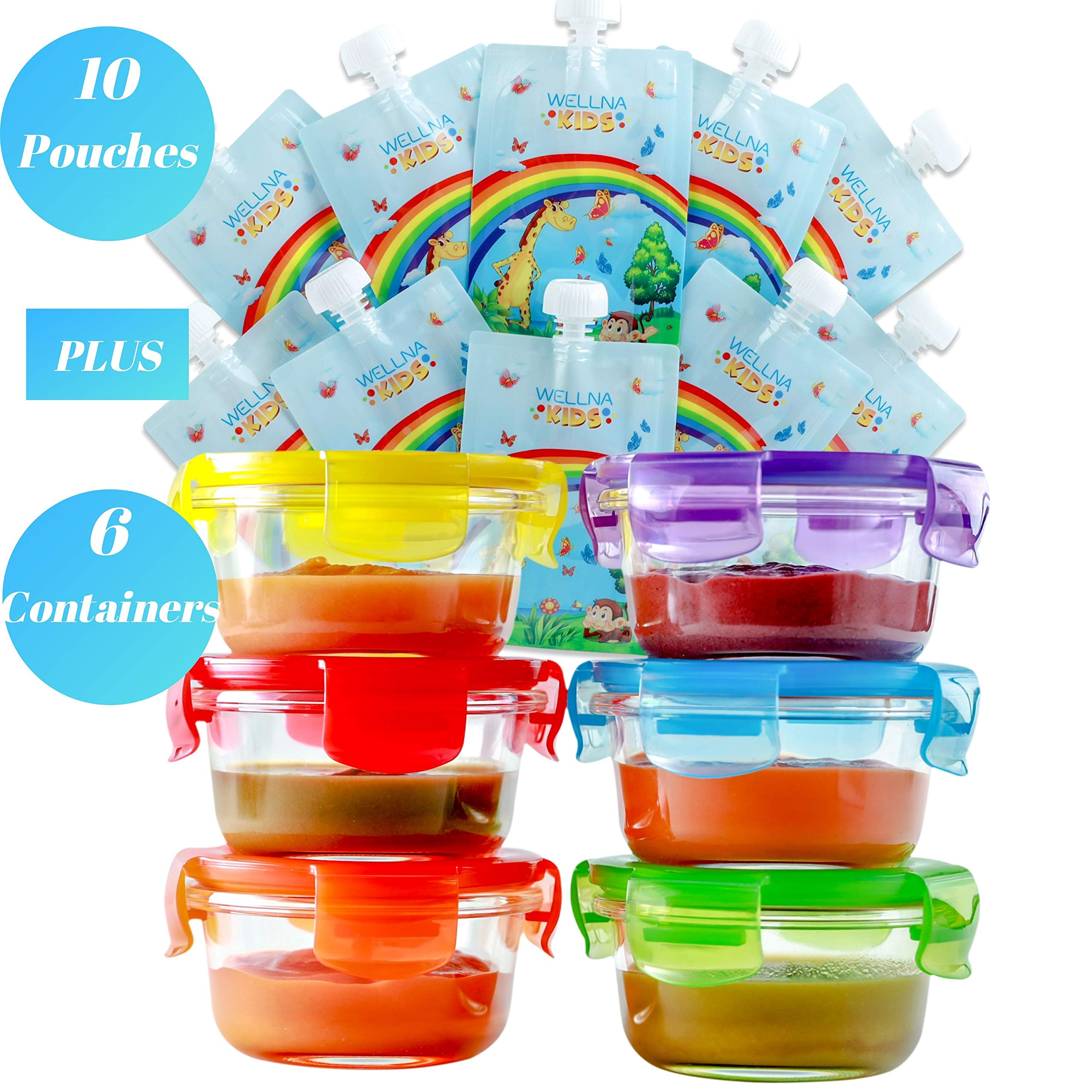Glass Baby Food Storage Containers & Food Pouches - Set of 6 Baby Food Containers (6 Oz) and 10 Reusable Food Pouches (7 Oz), BPA Free, Freezer, Microwave and Dishwasher Safe, Airtight Lids
