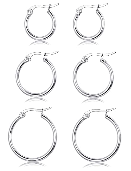 486d74caa7b33 Sllaiss 3 Pairs Sterling Silver Round Hoop Earring for Women Girls  Lightweight Click-Top Hoop Earring Hypoallergenic 10-20MM
