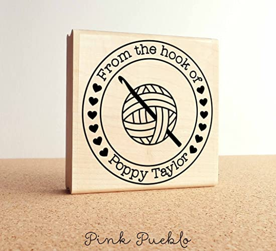 Large 3x3quot Personalized Crochet Rubber Stamp