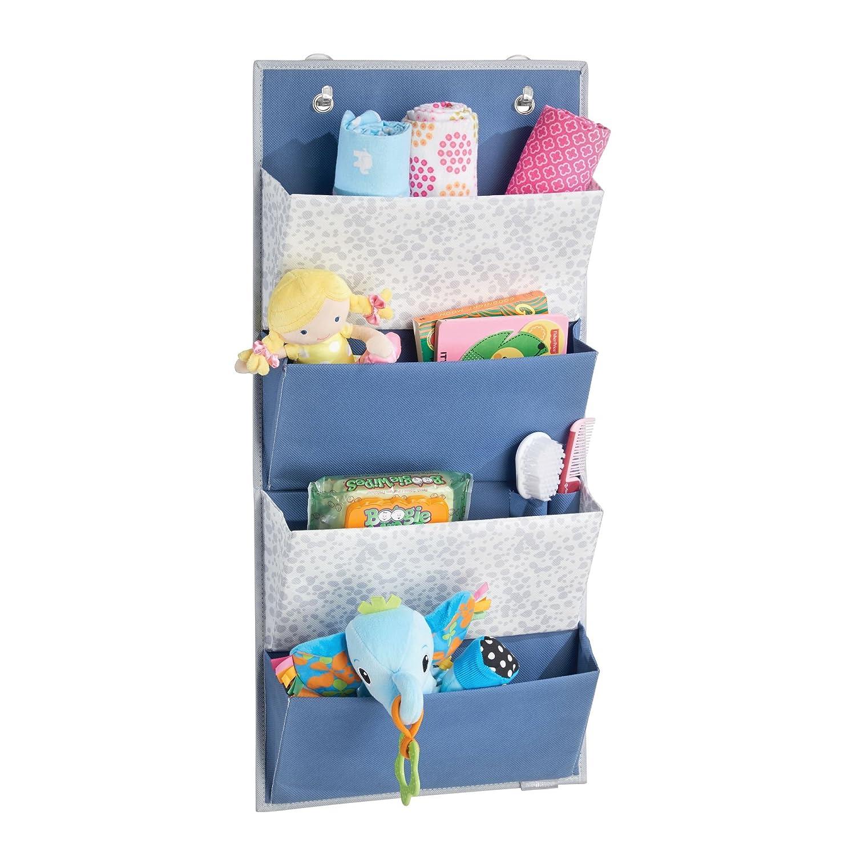 mDesign Over Door 4-Pocket Fabric Closet Organizer for Nursery Storage - Blue/Gray MetroDecor 7678MDB