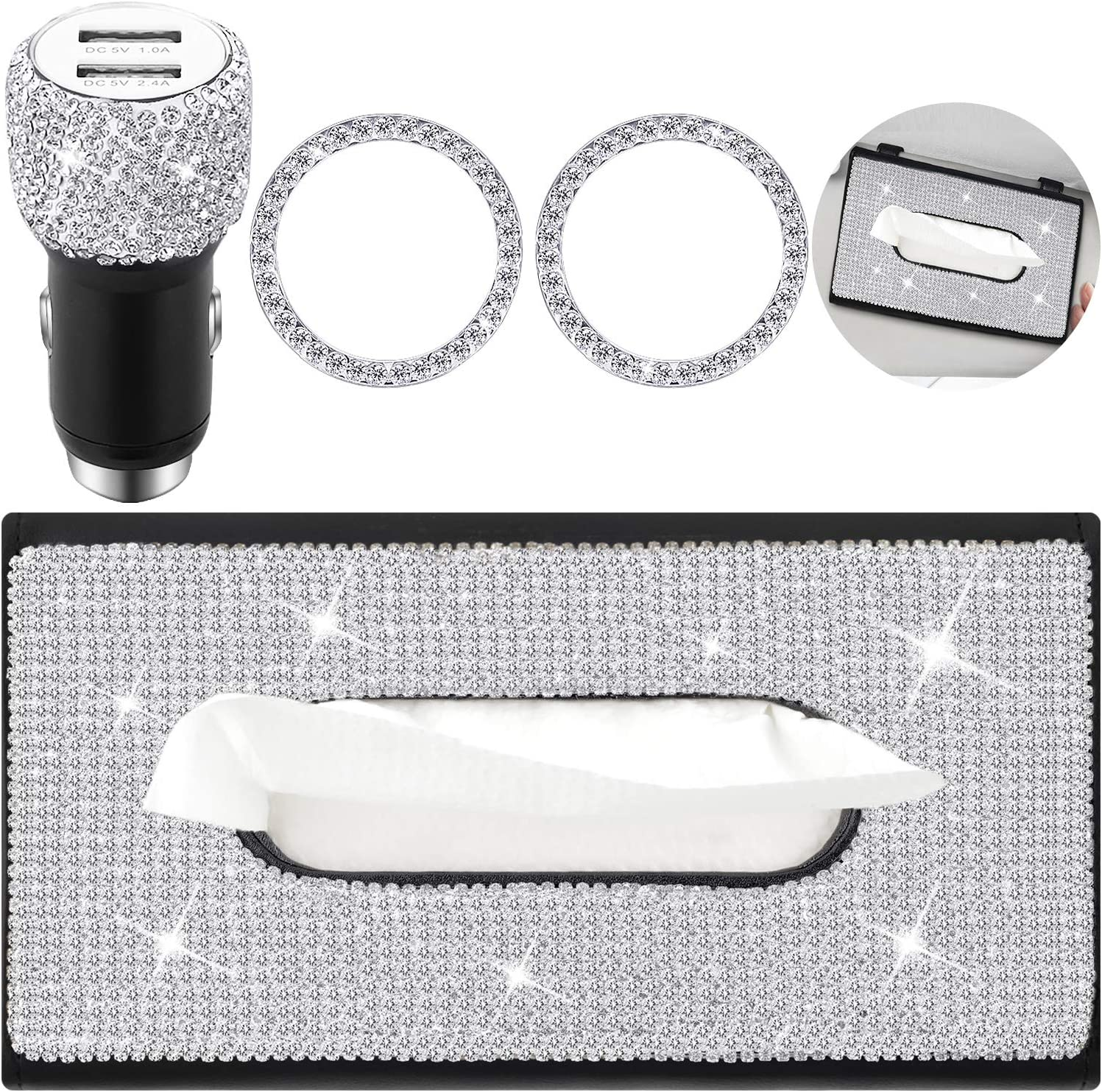 Including Crystal Car Visor Paper Towel Cover Case Crystal Car Dual Port USB and Crystal Interior Ring Emblem Sticker for Women Girls 4 Pieces Bling Car Accessories Set