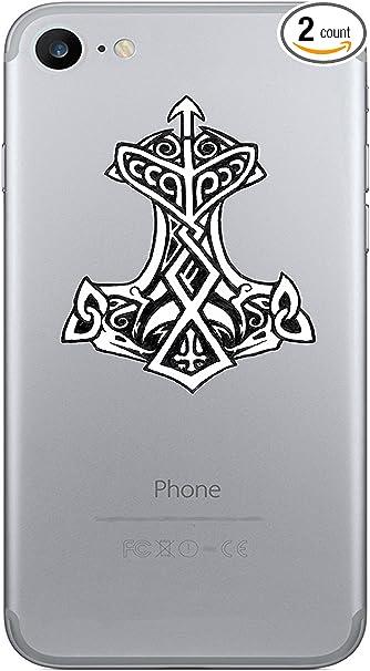 Wickedgoodz 2pc Thor S Hammer Viking Rune Vinyl Decals Cell Phone Sticker Perfect Norse Scandinavian Gift Set